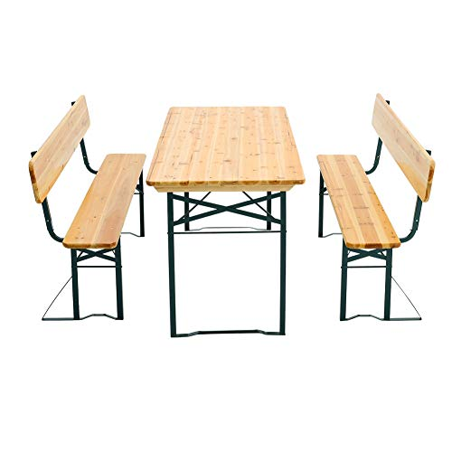 Warmiehomy Beer Table and Bench Set Dining Table Set Portable Folding Garden Camping BBQ Chairs Stools Picnic Trestle Wood 167 x 69 x 76cm