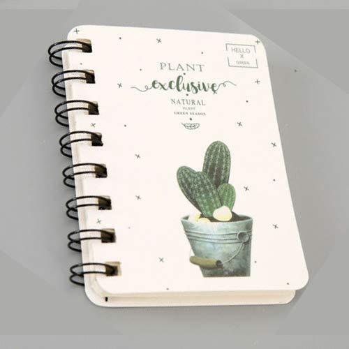 BE-TOOL Diario de dibujos animados Bloc de notas mini espiral lindo A7 Cactus 160 páginas (1 unidad)