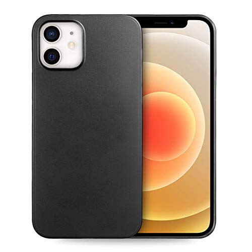 doupi UltraSlim Hülle kompatibel für iPhone 12 / iPhone 12 Pro (6,1 Zoll), Ultra Dünn Fein Matt Handyhülle Cover Bumper Schutz Schale Hard Hülle Taschenschutz Design Schutzhülle, schwarz
