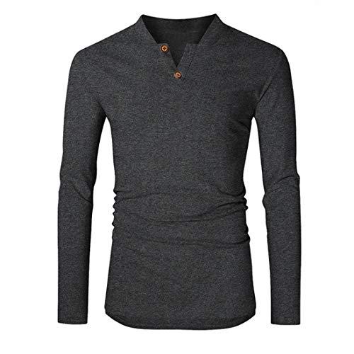 T Shirt Herren Sweatshirt Herren V-Ausschnitt Langarm Bequeme Casual Schlank Leichtes Herren T-Shirt Neues Einfaches Sport Fitness Jogging Herren Sweatshirt B-Dark Grey M