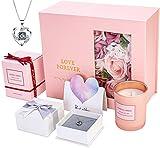 SUNHEY Eternal Rose Set, I Love You Collar Caja de Regalo Regalo de cumpleaños Perfecto Regalo romántico Día de San Valentín Cumpleaños Día de la Madre Aniversario Navidad Acción de Gracias, (Plata)