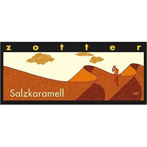 Zotter Bitterschokolade mit Salzkaramell & gesalzenem Mandelnougat, handgeschöpft (70 g) - Bio