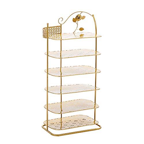 Kiki Zapatero de hierro para el hogar, de varias capas, para puertas pequeñas, ahorro de espacio, ahorro de espacio, color dorado, zapatero