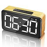 "Digital Alarm Clock, 6"" LED Digit Display Wood Grain Alarm Clock, Snooze Function, 6 Brightness Dimmer, USB Charged,Modern Minimalist Style Alarm Clocks for Bedroom Decor, Desk, Bedside, Office"