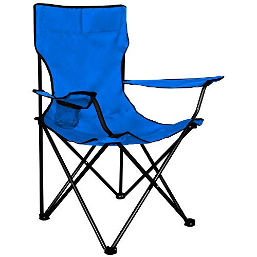 Innova PRO CAMP Portable Folding Camping Chair ¦ 1-Seater, Cup Holder, Carry Bag, Lightweight, Polyester, Steel Pipe Frame ¦ Indoor, Outdoor, Trips, Picnic, Backyard, Beach, Fishing | SKY BLUE