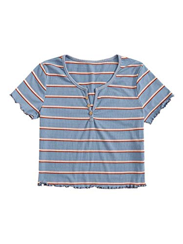 SweatyRocks Women's Short Sleeve Striped Ribbed Crop T-Shirt Casual Tee Knit Tops Blue M