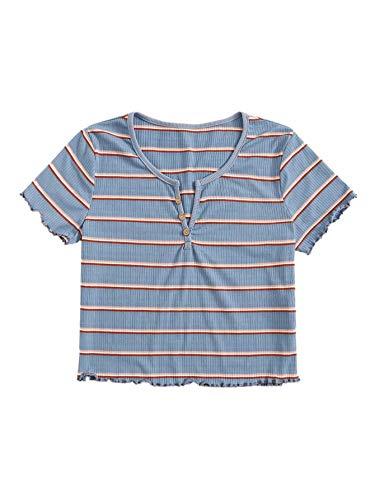 SweatyRocks Women's Short Sleeve Striped Ribbed Crop T-Shirt Casual Tee Knit Tops Blue M