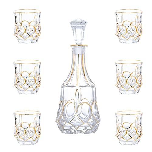 Licorera Casual 7-PC Decanter Set Glass 80 0ML Cristal con Botella De...