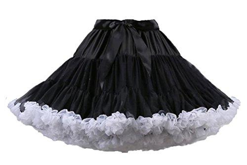 Aysimple Damen Puffy Chiffon Tütü Petticoat Tüllrock Unterrock Tüll Petticoats 50s Rock&Roll Schwarz Weiß