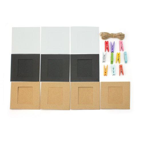 AllLife Papier-Bilderrahmen, zum Aufhängen, inkl. Klammern und Schnur, 10 Stück