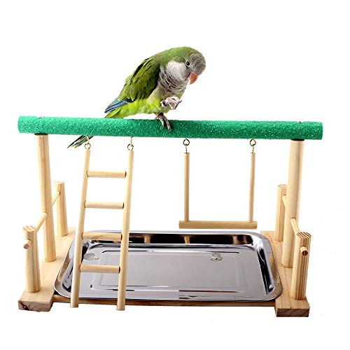 Mrli Pet Parrot Playstand Bird Play Stand Cockatiel Playground Wood Perch Gym Playpen with Ladder Swing Toys Exercise Play (Include a Tray)