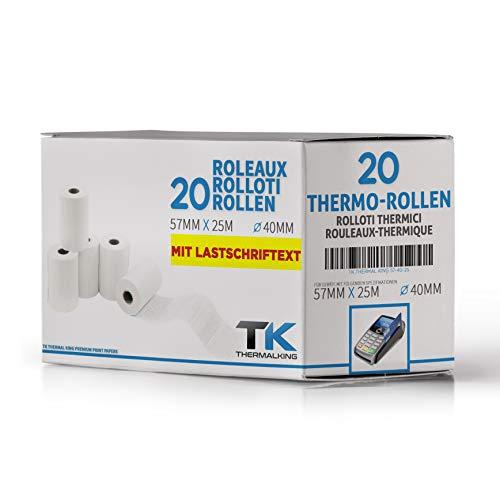 20 x EC Cash Thermorollen mit Sepa-Lastschrifttext B: 57mm – DM: 40mm - Kern DM: 12mm – L: 18m für Ingenico ict220 ict250 iwl250 und alle anderen EC-Cash-Thermodrucker