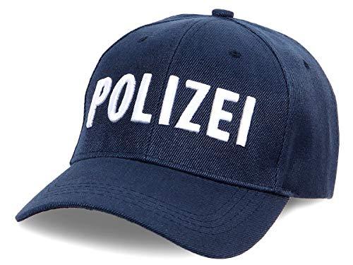 Shirt-Panda Herren & Damen Polizei Cap 3D-Stick - Baseballmütze Verkleidung Kostüm Basecap Police Sonnenschutz Kappe Cop Dunkelblau (Stick Weiß) One Size