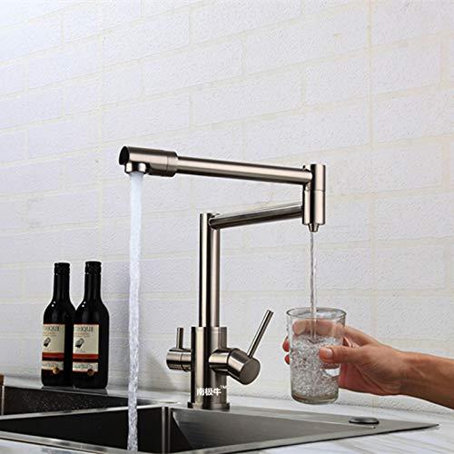 grifo de agua Latón negro Agua pura fría caliente 3 en 1 Grifo de cocina Grifo puro Mezclador de agua potable Grifo Doble salida de agua Grifo