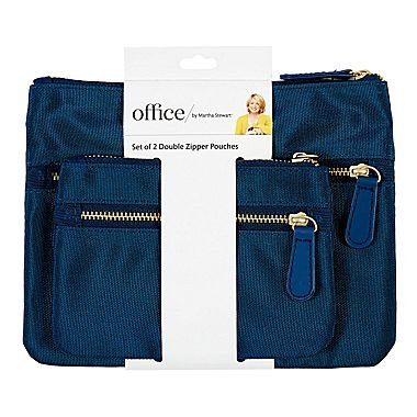 Office by Martha Stewart, Double Zipper Pouches, Navy Blue, 2/Pack (50386)