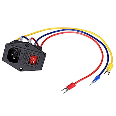 PoPprint Rocker Switch ON/OFF 15A 250V Power Boat Rocker Switch AC Power with Fuse Cable for 3D Printer