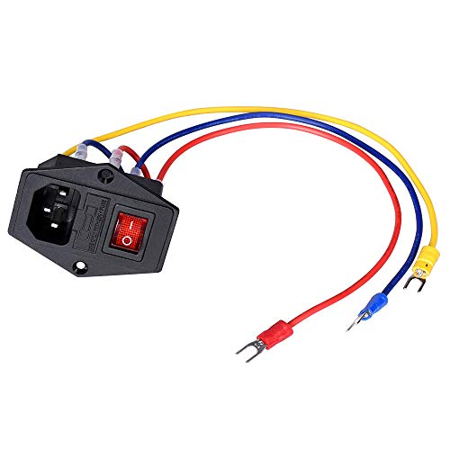 PoPprint Interruptor basculante ON/OFF 15A 250V Power Boat Rocker Switch AC Power Power Power con cable de fusible para impresora 3D
