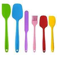 easyult 6 pezzi kit di pennello in silicone da pasticceria, resistente al calore antiaderenti spatola in silicone da cucina utensili, cuocere utensili pennelli raschietto spatole cucchiaio (6 colori)