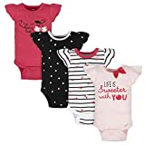 Gerber Baby Girls 4-Pack Short Sleeve Onesies Bodysuits, Pink Cherry, Newborn