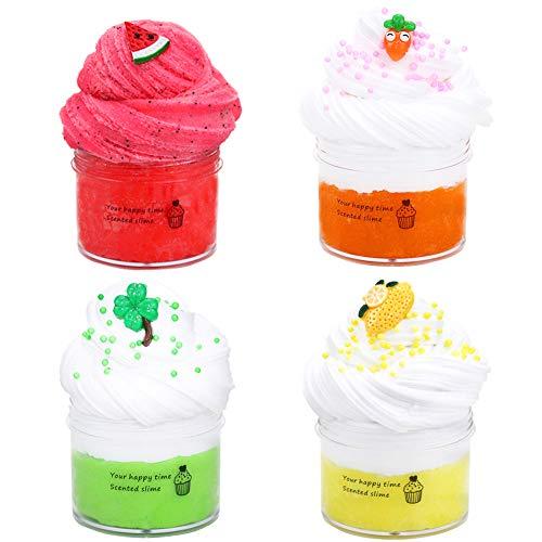 SWZY Fluffy Slime Kit,Butter Slime,Slime Fluffy,con piña/sandía/Verde Menta y Slime Blanco Crema,súper Suave y no pegajosa, Juguete de Lodo de Bricolaje para Regalo para niños-4PCS