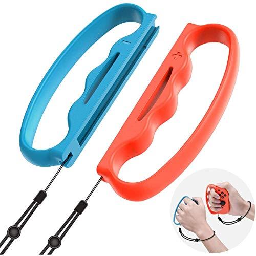 [2 Piezas] Empuñadura de Boxeo Fitness Compatible con Nintendo Switch Fitness Boxing Game, para Nintendo Switch Joy-con Fitness Boxing Game Assit Tool Grip (Rojo + Azul)