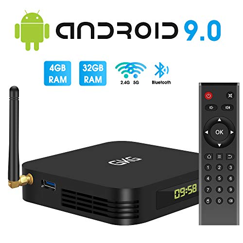 TV Box Android 9.0, GKG Android TV Box 4GB RAM 32GB ROM Allwinner H6 Quad-core Dual-WiFi 2.4G + 5G Support BT 4.1 USB 3.0 Ethernet 4K 3D Video Media Player[2020 Newest]