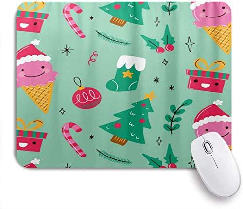 Weihnachten Eis Moderne Socke Pine Ball Cane Mausmatte,Gummiunterseite Maus Pad,Mausunterlage,Schreibtischunterlage
