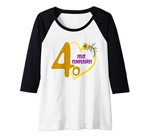 Mujer Feliz Cumpleaños 40 Años, Regalo Dia De Amor Camiseta Manga Raglan