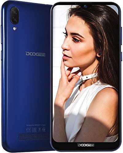 DOOGEE X90 2019 3G Smartphone ohne Vertrag Günstig Dual SIM 19:9 6,1 Zoll, Android 8,1 Handy Quad-Core 1GB RAM 16GB, 3400mAh, 5MP Vordere Kamera, 5MP+8MP Dual Rückkamera, Gesichtserkennung ID, Blau