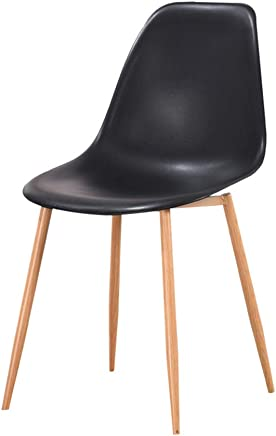 ENCOUNTER-G Modern Minimalist Dining Chair Plastic Armchair Office Chair Comfortable Bar Stool Iron Leg Chair Suitable For Restaurants Bars Cafes Living Rooms Family Reception Black