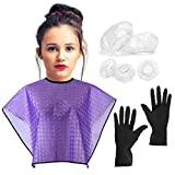 CCbeauty Waterproof Haircut Cape and Reusable Set with 100Pcs Disposable Ear Protector Shower Earmuffs Hair Styling Coloring Conditioning Hot Oil Cloth for Hair Perming Dyeing Tool Kit (Purple)