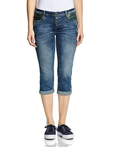 Street One Damen 372330 Jane Slim Jeans, Dark Blue Random Bleached, W31 (Herstellergröße:31)