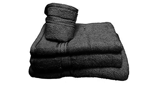 Comfy Decor Lot de 6 serviettes de toilette en flanelle 100 % coton égyptien Noir 30 x 30 cm