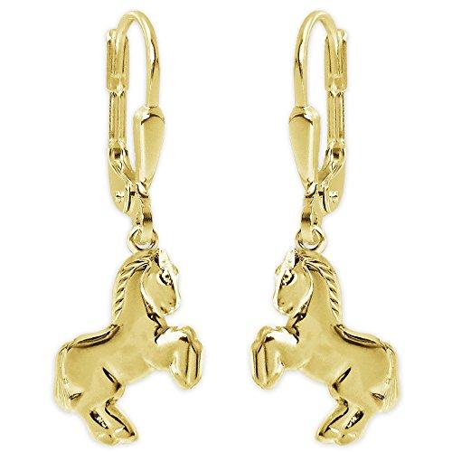Clever sieraden gouden kinderen dames oorbellen 27 mm paard 12 mm springend glanzend paardmotief achterkant hol 333 GOUD 8 KARAT