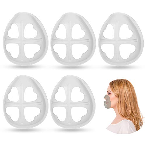 As Seen On TV Cool Protection Stand - Silicone Mask Bracket,Face Mask Inner Support Frame,More Space for Comfortable Breathing Protect Lipstick Washable Reusable (5Pcs Translucent)