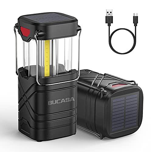 BUCASA Linterna Camping Solar, 2 Piezas USB Recargable Lampara De Camping Plegable Con Gancho, Ip65 Impermeable Accesorios de Camping PortáTil Para La Tienda Senderismo Pesca Emergencia