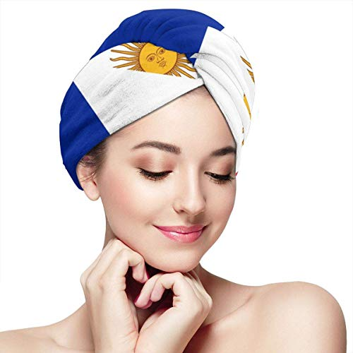 Frankreich und Argentinien Flagge Handtücher wickeln weiche Knöpfe trockenes Haar Hut gewickelt Badekappe saugfähige Kappe passt die meisten Haartypen