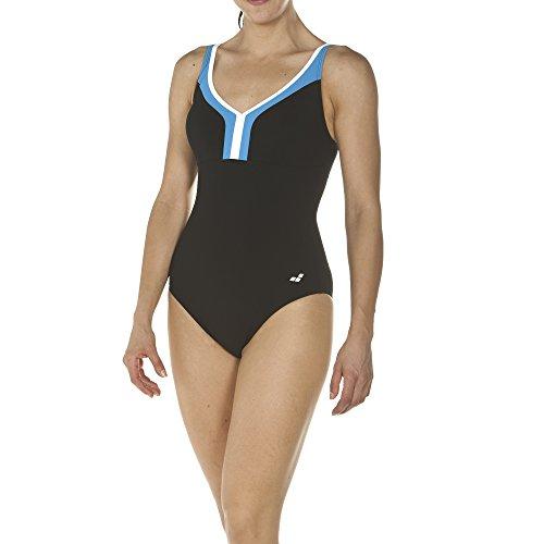 arena Damen Bodylift Badeanzug Renee (Shapingeffekt, Figurformend, Schnelltrocknend, UV-Schutz UPF 50+), Black-Turquoise-White (576), 44