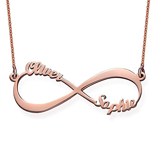 MyNameNecklace Personalized Infinity Couples Name Necklace-Eternal Love Jewelry with 2 Names for Mom Girlfriend (Rose Gold Plated Sterling Silver)