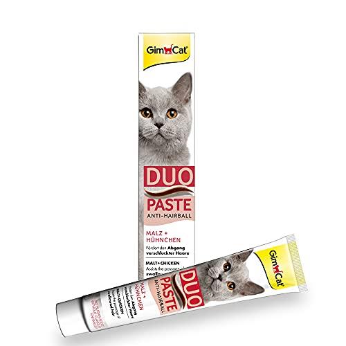 GimCat Duo Paste Anti-Hairball Malz und Hühnchen - Katzensnack fördert den Abgang verschluckter Haare - 1 Tube (1 x 50 g)