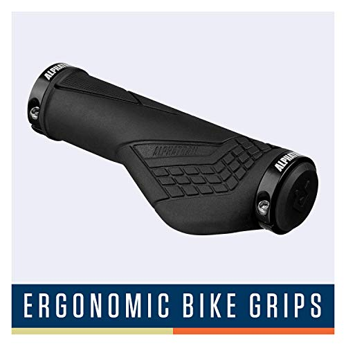 Alphatrail Puños Bicicleta Ergo David I Diseño ergonómico para una cómoda sensación de Agarre I Fuerte Montaje de los puños al manubrio de Ø 22mm I duraderos un Compuesto y Caucho ecológico