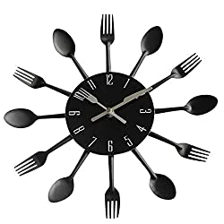 GUANGQING Black Kitchen Novel Wall Clock Modern Design Silver Cutlery Kitchen Utensil Wall Clock Spoon Fork Clock Living Room Bedroom Office Wall Clock