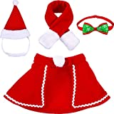 Tatuo Pet Adjustable Christmas Santa Hat, Cloak, Scarf and Collar Bow Tie Christmas Costume for Puppy Kitten Small Cats Dogs Pets