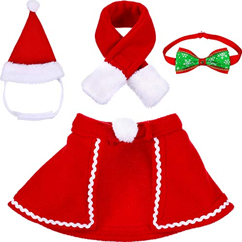 Tatuo Pet Adjustable Christmas Santa Hat, Cloak, Scarf and Collar Bow Tie Christmas Costume for Puppy Kitten Small Cats Dogs Pets (M)