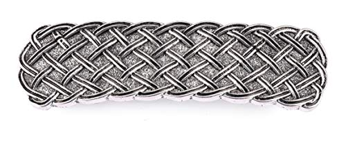 TEAMER Fashion Vintage Celtic Knot Hair Clip Metal Barrettes Hair Accessories Pattern Engraved Headwear Styling Gifts for Women Girls (Wide, Antique Silver Tone)