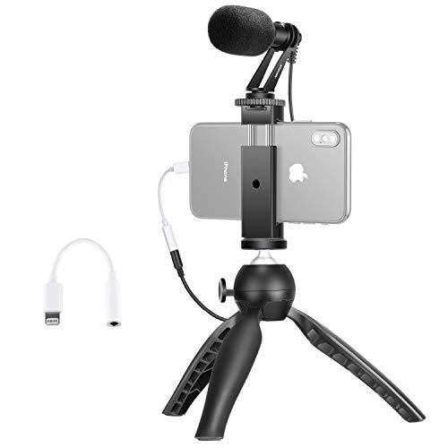 Neewer Smartphone Video Rig Set Filmemacher Mini Stativ mit CM14 Mikrofon Kopfhorer Konverter Adapter Metall Handyklammer Kompatibel mit iPhone1111 Pro11 Pro MaxXSXR Samsung Galaxy usw