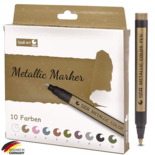 Metallic Marker Stifte Set, 10 Farben Metallische Color Pens für DIY Fotoalbum Gästebuch Hochzeit Steine Glas schwarzes weißes Papier Kunststoff Keramik Holz Leinwand Scrapbooking