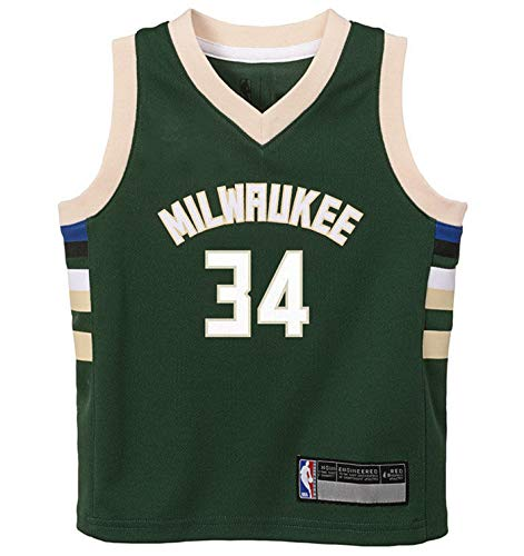 NBA Kids 4-7 Official Name and Number Replica Home Alternate Road Player Jersey (5/6, Giannis Antetokounmpo Milwaukee Bucks Green)