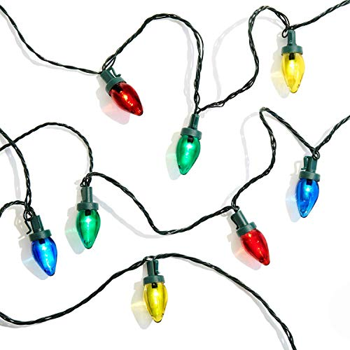 C7 LED Christmas Lights - 100 Count, Multi Colored Bulbs on Green Wire, 58 Feet, Waterproof Outdoor String Light, 8 Lighting Modes, Timer Feature, Plug in, Vintage Style Holiday Decorations