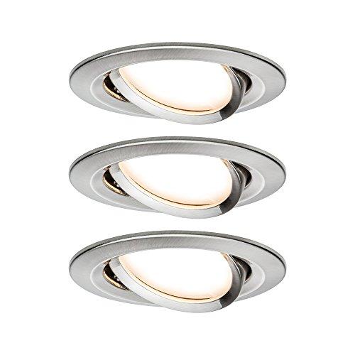 Paulmann 938.78 Premium EBL Set Coin Slim dimmbar rund schwenkbar LED 3x6,8W 2700K 230V 51mm Eisen gebürstet 93878 Spot Einbaustrahler Einbauleuchte